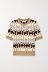 Maje Argyle Wool Blend Top Brown