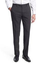 Men's Boss 'Leenon' Flat Front Solid Wool Trousers Charcoal