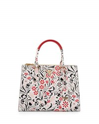 Prada Medium Debossed Floral Galleria Tote Bag White Pink White Pink