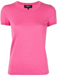 Paule Ka Knitted Round Neck T Shirt Pink