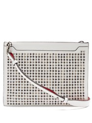 Christian Louboutin Skypouch Spike Embellished Leather Clutch White