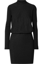 James Perse Slub Stretch Cotton Jersey Mini Dress Black