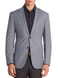 Ermenegildo Zegna Multi Tone Checked Wool Blazer Blue