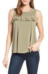 Halogenr Women's Halogen Ruffle Front Tank Olive