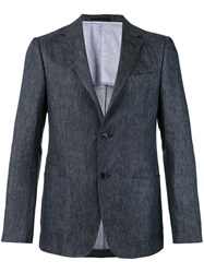 Z Zegna Two Button Chambray Jacket Men Cotton Linen Flax Cupro 50 Blue