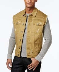 Lrg Men's Payola Pintucked Denim Vest Tabacco Gold