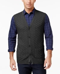 Tasso Elba Men's Big And Tall Chevron Sweater Vest Only At Macy's Charcoal Heather