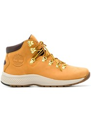 Timberland Lace Up Ankle Boots Yellow And Orange