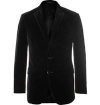 Polo Ralph Lauren Black Slim Fit Cotton Velvet Blazer Black