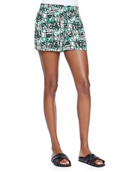 Pam And Gela Printed Elastic Waist Shorts White Mult Colors