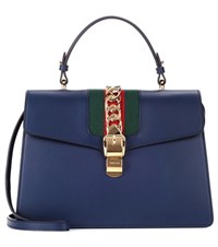 Gucci Sylvie Embellished Leather Tote Blue