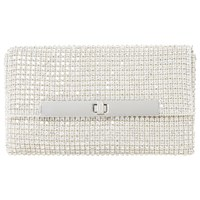 Dune Enya Diamante Turn Lock Clutch Bag Silver
