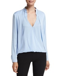 Halston Long Sleeve Draped Top With Overlay Chambray