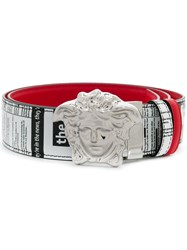 Versace Newspaper Print Belt Red