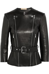 Michael Kors Belted Bonded Leather Biker Jacket Black