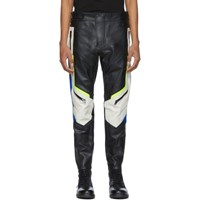 Diesel Black And Off White Leather Astra Ptre Trousers