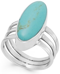 Macy's Manufactured Turquoise Oval Wire Ring In Sterling Silver 2 Ct. T.W.