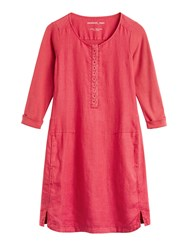 Sandwich Linen Dress With Broderie Anglaise Detail Blood Red