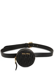 Miu Miu Mini Round Quilted Leather Belt Bag Black