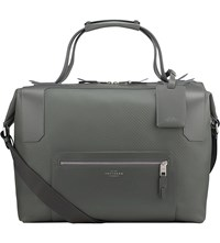 Smythson Greenwich Large Canvas And Leather Holdall Granite