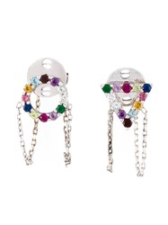 Gisele For Eshvi 18Kt White Gold Gemstone Earrings Metallic