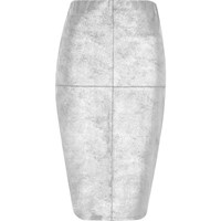 River Island Silver Faux Suede Panel Pencil Skirt