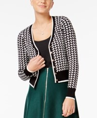 Xoxo Juniors' Houndstooth Cardigan Black White Houndstooth