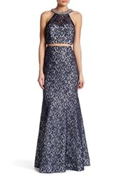 Sequin Hearts Lace Top And Matching Skirt Set Blue