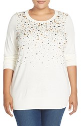 Plus Size Women's Halogen Embellished Crewneck Sweater Ivory Cloud Pearl Pattern
