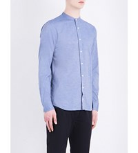 Tommy Hilfiger New York Fit Mandarin Collar Cotton Shirt Dutch Navy