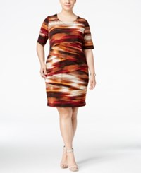 Connected Plus Size Printed Tiered Shift Dress Rust