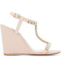 Dune Maitai Embellished Leather Sandals Blush Leather