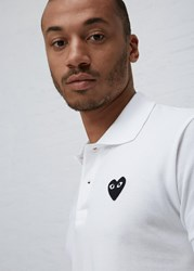 Comme Des Garcons Black Heart Polo White
