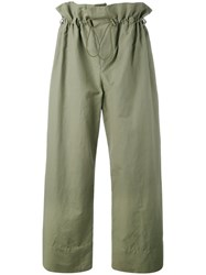 Stella Mccartney Paperbag Waist Trousers Women Cotton Linen Flax Polyamide 42 Green