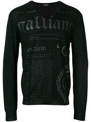 John Galliano Branded V Neck Jumper Blue