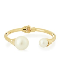 Lydell Nyc Pearly Cap Golden Bangle Bracelet