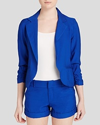 Aqua Blazer Crinkle Ruched Sleeve Electric Blue