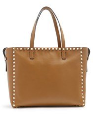 Valentino Rockstud Untitled 12 Small Leather Tote Tan