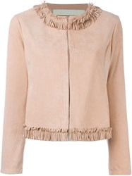 Drome Fringed Trim Jacket Pink And Purple