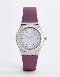 Swatch Yls204 Time To Silicone Watch In Pink 33Mm