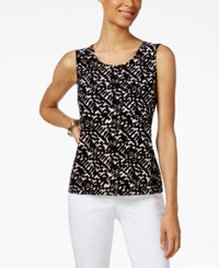 Jm Collection Printed Jacquard Tank Top Only At Macy's Brush Stroke