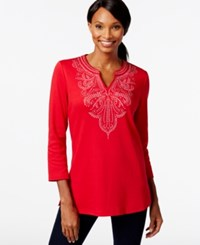 Jm Collection Beaded Embellished Tunic New Red Amore