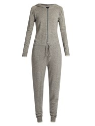 Pepper And Mayne Hooded Cashmere Jumpsuit Grey