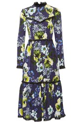 Erdem Georgie Lace Trimmed Printed Silk Crepe De Chine Dress Navy
