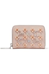Christian Louboutin Panettone Spiked Textured Leather Wallet Baby Pink