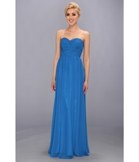 Faviana Strapless Sweetheart Chiffon Dress 7338 Turquoise Stone Women's Dress Blue