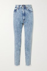 Magda Butrym Evansville Cropped Acid Wash High Rise Straight Leg Jeans Blue