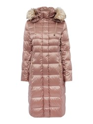 Eliza J Padded Down Coat With Faux Fur Hood Pink