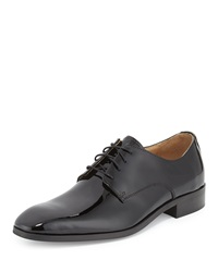 Neiman Marcus Firenze Patent Leather Derby Shoe Black