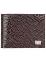 Dolce And Gabbana Dauphine Leather Billfold Wallet Brown